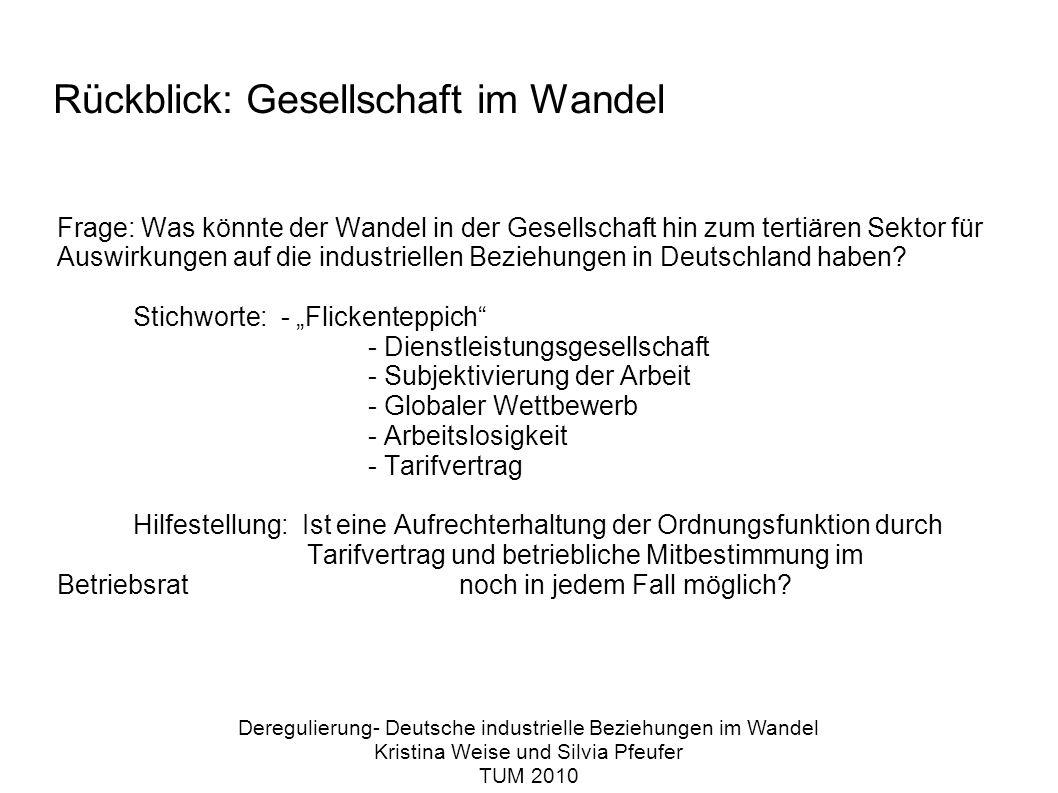 Rückblick: Gesellschaft im Wandel Frage: Was könnte der Wandel in der Gesellschaft hin zum tertiären Sektor für Auswirkungen auf die industriellen Beziehungen in Deutschland haben.