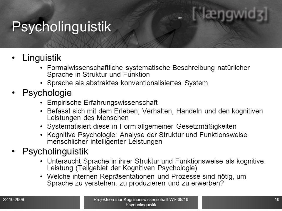 Psycholinguistik Linguistik Formalwissenschaftliche systematische Beschreibung natürlicher Sprache in Struktur und Funktion Sprache als abstraktes kon