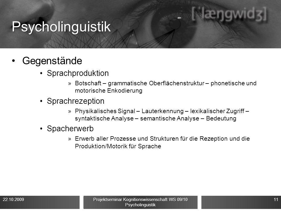 Psycholinguistik Gegenstände Sprachproduktion »Botschaft – grammatische Oberflächenstruktur – phonetische und motorische Enkodierung Sprachrezeption »