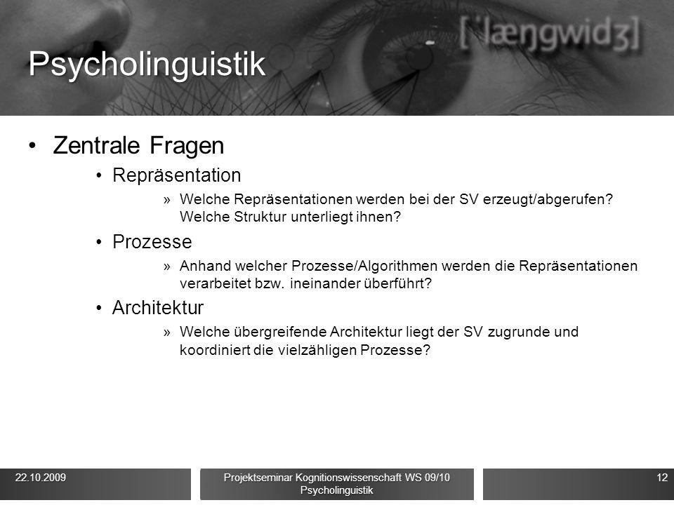Psycholinguistik Zentrale Fragen Repräsentation »Welche Repräsentationen werden bei der SV erzeugt/abgerufen? Welche Struktur unterliegt ihnen? Prozes