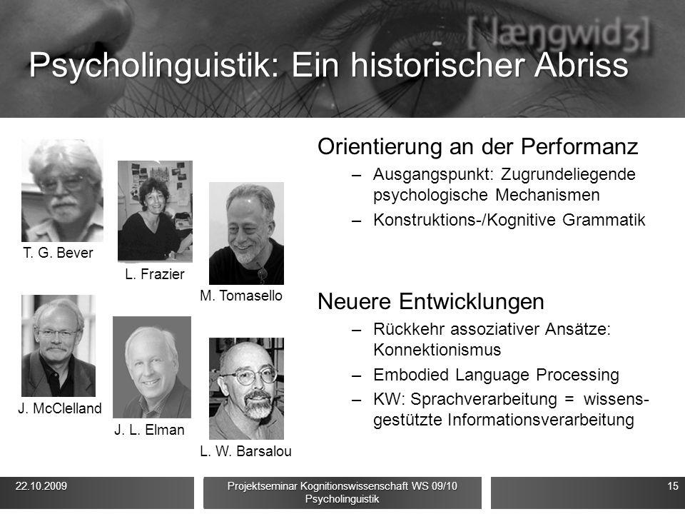 Psycholinguistik: Ein historischer Abriss Orientierung an der Performanz –Ausgangspunkt: Zugrundeliegende psychologische Mechanismen –Konstruktions-/K