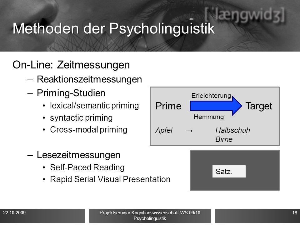Methoden der Psycholinguistik On-Line: Zeitmessungen –Reaktionszeitmessungen –Priming-Studien lexical/semantic priming syntactic priming Cross-modal p