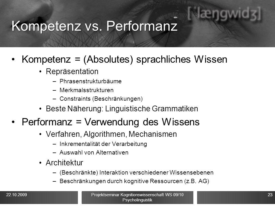 Kompetenz vs. Performanz Kompetenz = (Absolutes) sprachliches Wissen Repräsentation –Phrasenstrukturbäume –Merkmalsstrukturen –Constraints (Beschränku