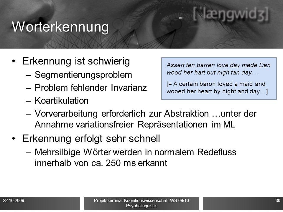 Worterkennung Erkennung ist schwierig –Segmentierungsproblem –Problem fehlender Invarianz –Koartikulation –Vorverarbeitung erforderlich zur Abstraktion …unter der Annahme variationsfreier Repräsentationen im ML Erkennung erfolgt sehr schnell –Mehrsilbige Wörter werden in normalem Redefluss innerhalb von ca.