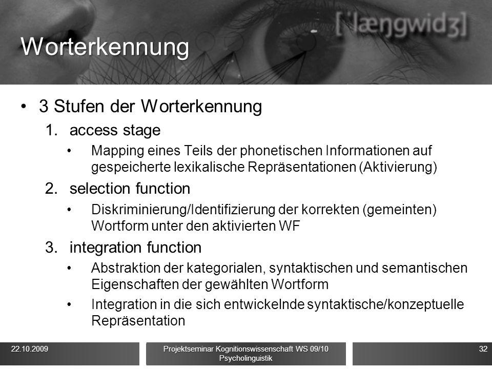 Worterkennung 3 Stufen der Worterkennung 1.access stage Mapping eines Teils der phonetischen Informationen auf gespeicherte lexikalische Repräsentationen (Aktivierung) 2.selection function Diskriminierung/Identifizierung der korrekten (gemeinten) Wortform unter den aktivierten WF 3.integration function Abstraktion der kategorialen, syntaktischen und semantischen Eigenschaften der gewählten Wortform Integration in die sich entwickelnde syntaktische/konzeptuelle Repräsentation 22.10.2009 22.10.2009 Projektseminar Kognitionswissenschaft WS 09/10 Psycholinguistik 32