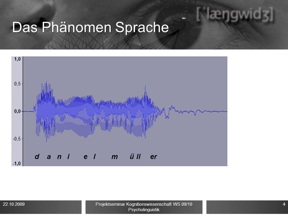 Das Phänomen Sprache Phonetik/Phonologie Komplexes physikalisches Signal (Schallwellen) Verrauschte Signale Koartikulation Stark unterschiedliches Kla