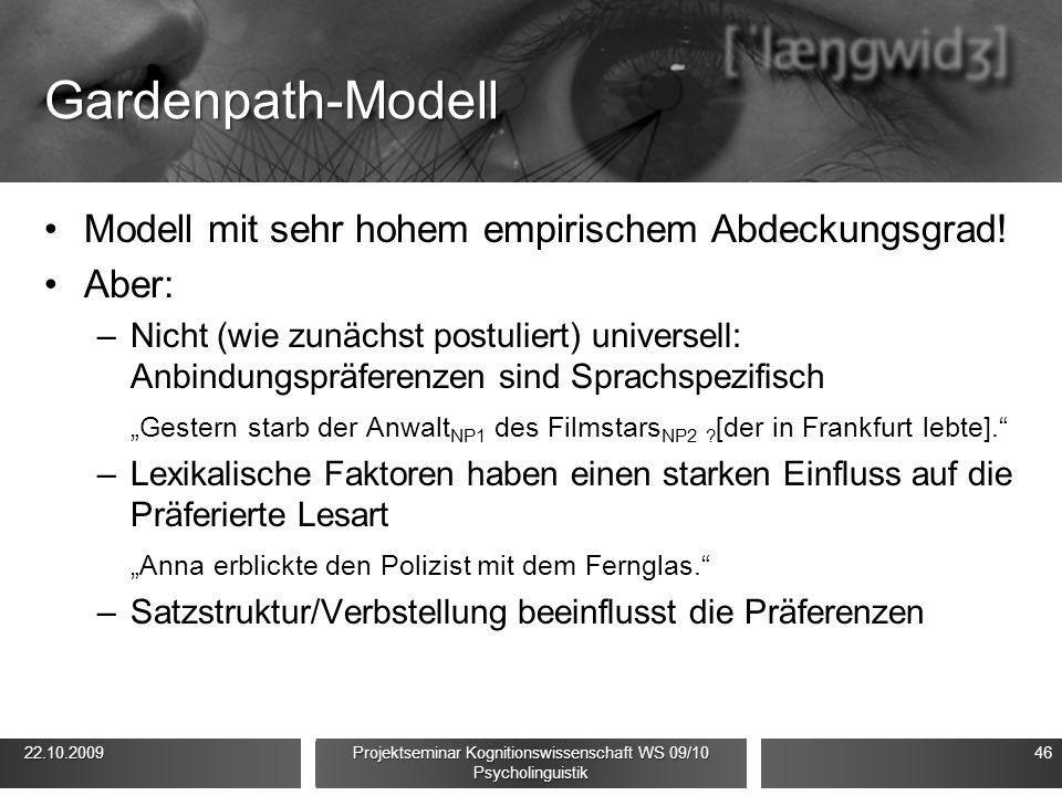 Gardenpath-Modell Modell mit sehr hohem empirischem Abdeckungsgrad! Aber: –Nicht (wie zunächst postuliert) universell: Anbindungspräferenzen sind Spra