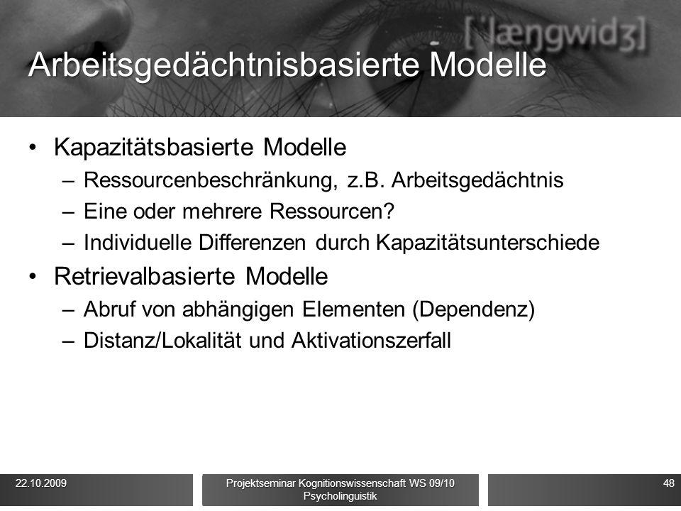 Arbeitsgedächtnisbasierte Modelle Kapazitätsbasierte Modelle –Ressourcenbeschränkung, z.B. Arbeitsgedächtnis –Eine oder mehrere Ressourcen? –Individue