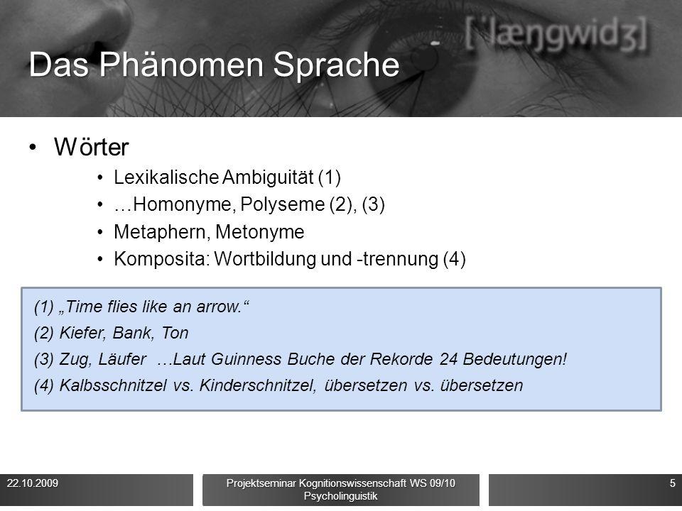 Das Phänomen Sprache Wörter Lexikalische Ambiguität (1) …Homonyme, Polyseme (2), (3) Metaphern, Metonyme Komposita: Wortbildung und -trennung (4) 22.1