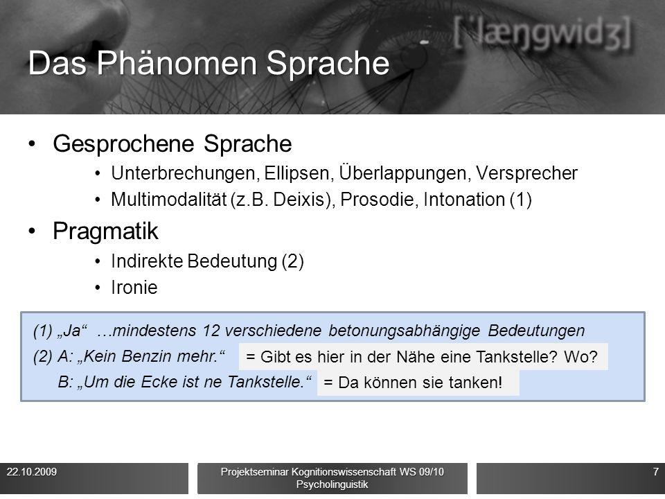 Das Phänomen Sprache Gesprochene Sprache Unterbrechungen, Ellipsen, Überlappungen, Versprecher Multimodalität (z.B.