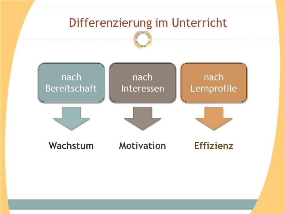 Differenzierung im Unterricht nach Bereitschaft nach Interessen nach Lernprofile WachstumMotivationEffizienz