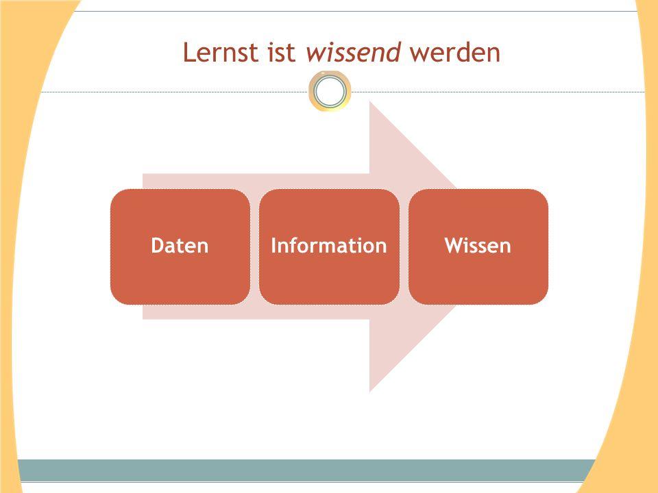 Lernst ist wissend werden DatenInformationWissen