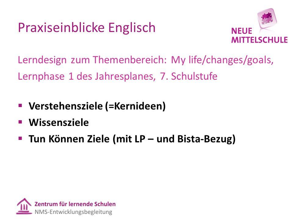 Praxiseinblicke Englisch Lerndesign zum Themenbereich: My life/changes/goals, Lernphase 1 des Jahresplanes, 7. Schulstufe  Verstehensziele (=Kernidee
