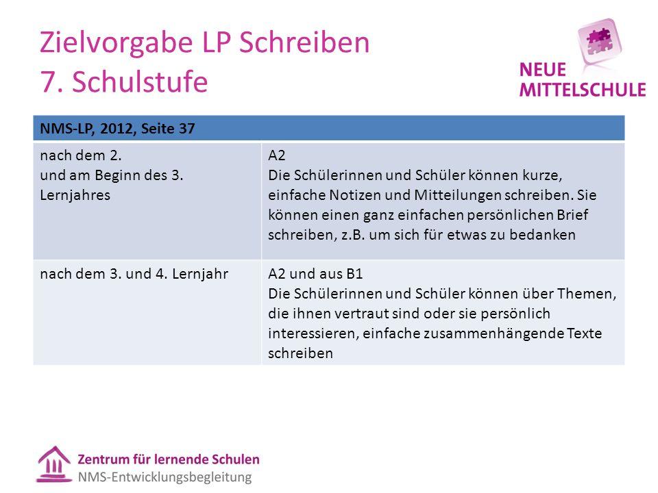 Zielvorgabe LP Schreiben 7. Schulstufe NMS-LP, 2012, Seite 37 nach dem 2.