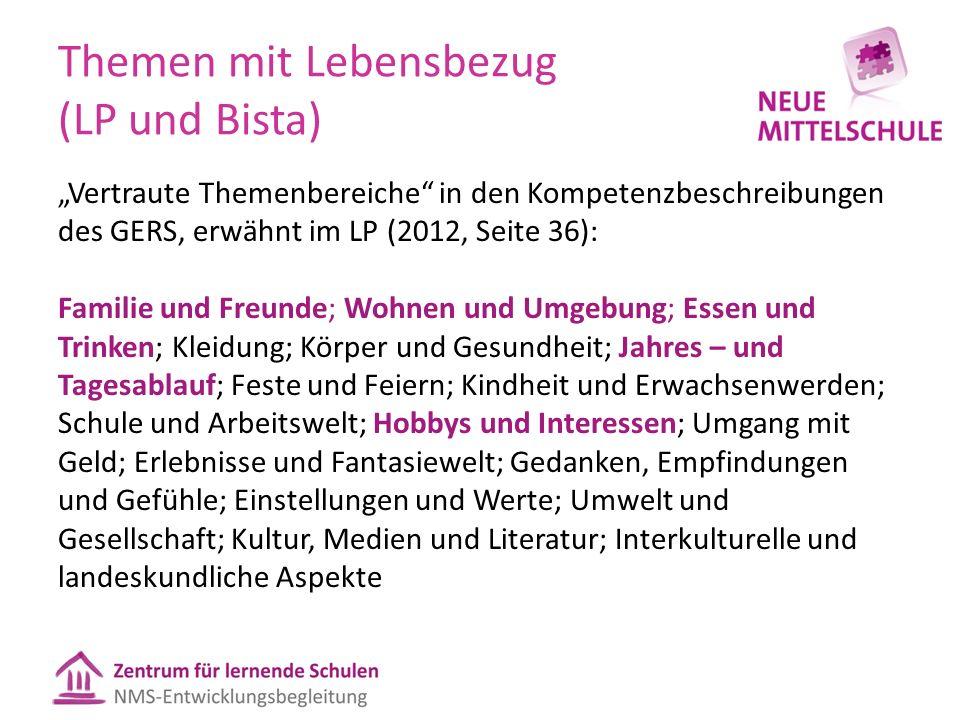 """Themen mit Lebensbezug (LP und Bista) """"Vertraute Themenbereiche"""" in den Kompetenzbeschreibungen des GERS, erwähnt im LP (2012, Seite 36): Familie und"""