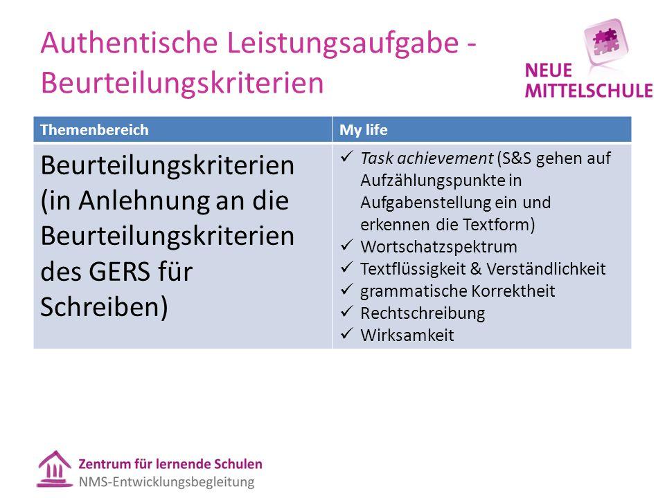 Authentische Leistungsaufgabe - Beurteilungskriterien ThemenbereichMy life Beurteilungskriterien (in Anlehnung an die Beurteilungskriterien des GERS f