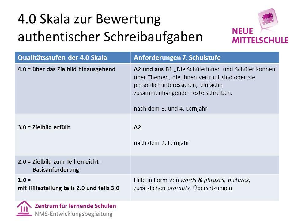 4.0 Skala zur Bewertung authentischer Schreibaufgaben Qualitätsstufen der 4.0 SkalaAnforderungen 7.