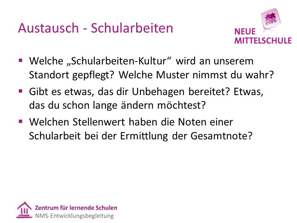 """Austausch - Schularbeiten  Welche """"Schularbeiten-Kultur wird an unserem Standort gepflegt."""