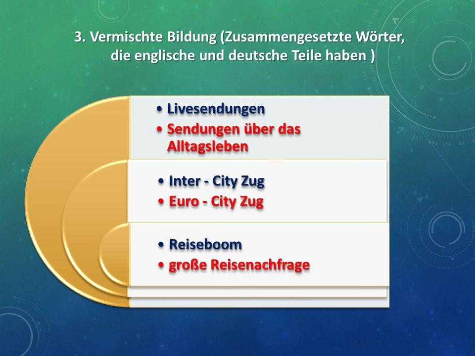3. Vermischte Bildung (Zusammengesetzte Wörter, die englische und deutsche Teile haben ) LivesendungenLivesendungen Sendungen über das AlltagslebenSen