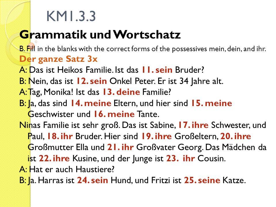 KM1.3.3 Grammatik und Wortschatz B. Fill in the blanks with the correct forms of the possessives mein, dein, and ihr. Der ganze Satz 3x A: Das ist Hei