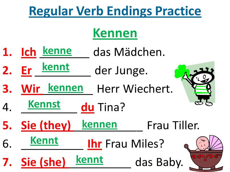 Regular Verb Endings Practice Kennen 1.Ich ________ das Mädchen.
