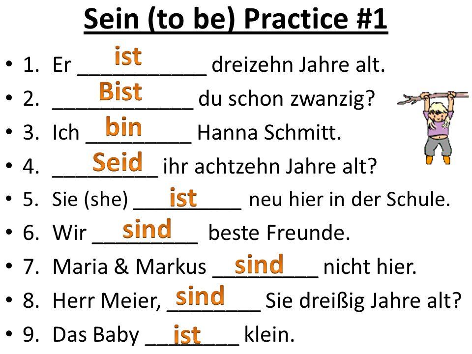 Sein (to be) Practice #1 1.Er ___________ dreizehn Jahre alt.