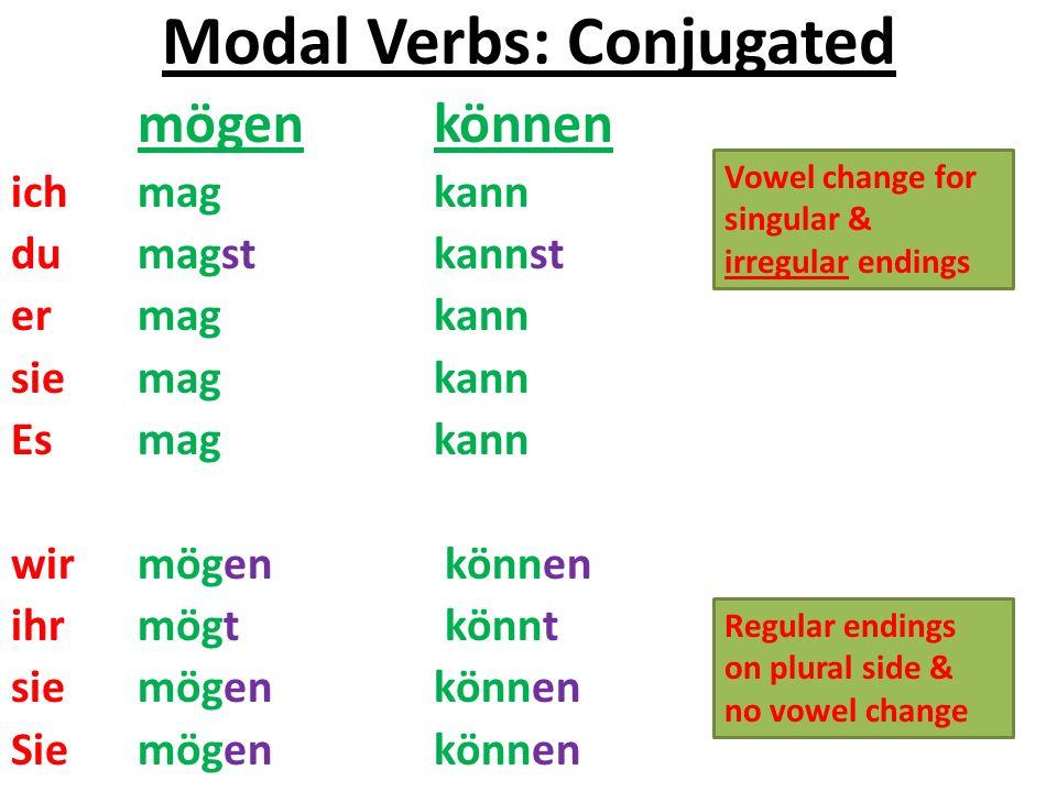 Modal Verbs: Conjugated mögen können ich mag kann du magstkannst er magkann sie mag kann Es magkann wir mögen können ihr mögt könnt sie mögen können Sie mögen können Regular endings on plural side & no vowel change Vowel change for singular & irregular endings