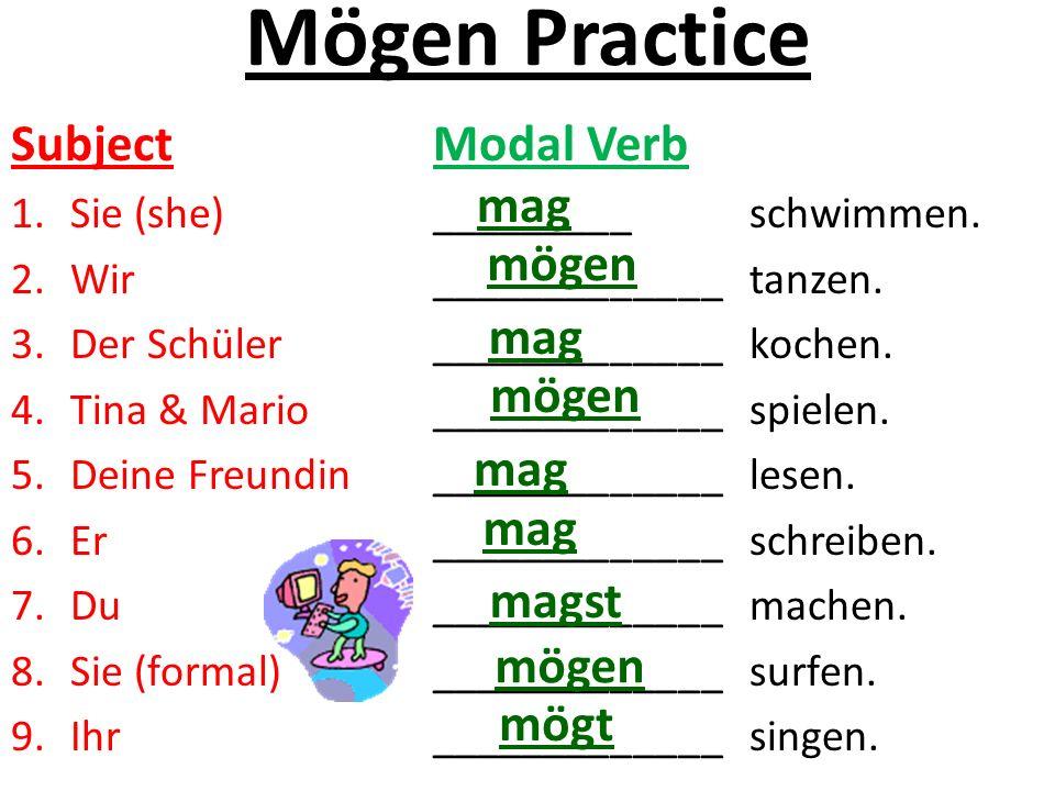 Mögen Practice Subject Modal Verb 1.Sie (she)_________schwimmen.