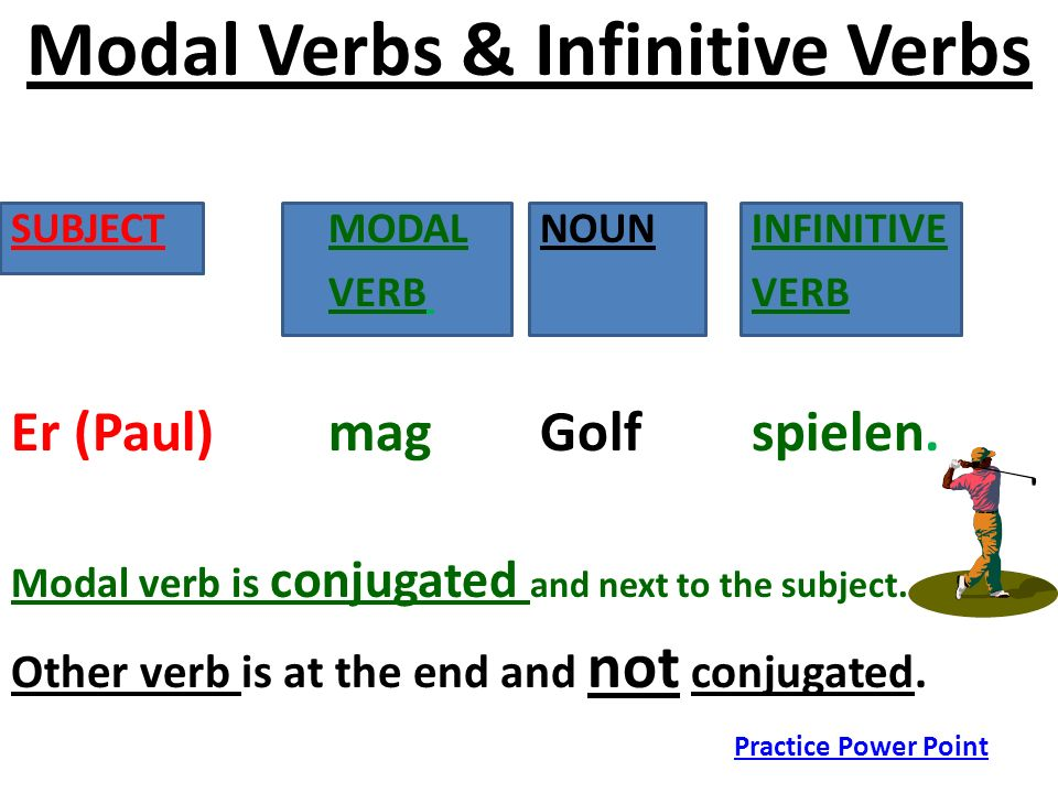 Modal Verbs & Infinitive Verbs SUBJECT MODAL NOUN INFINITIVE VERB VERB Er (Paul) mag Golf spielen. Modal verb is conjugated and next to the subject. O