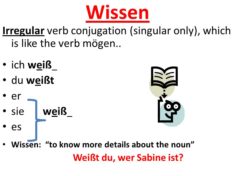 "Wissen Irregular verb conjugation (singular only), which is like the verb mögen.. ich weiß du weißt er sie weiß es Wissen: ""to know more details about"