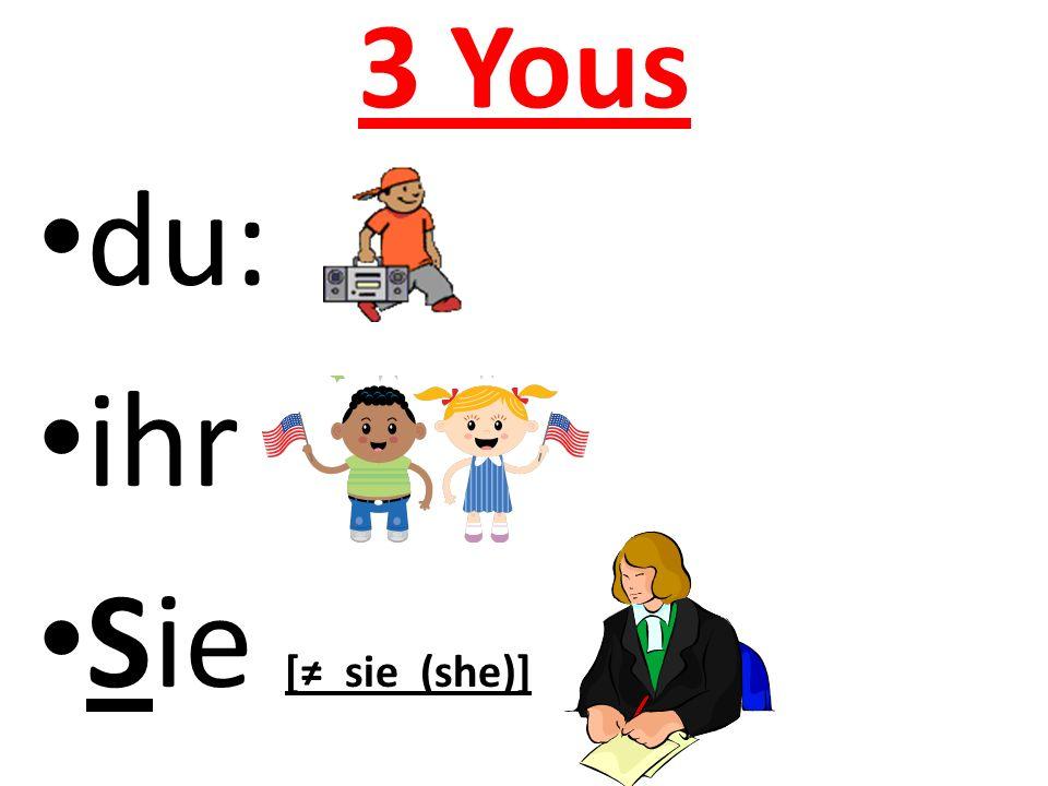 3 Yous du: ihr Sie [≠ sie (she)]