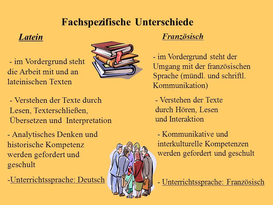 Anforderungen an den Schüler Bereitschaft zu lernen! Zusätzliche Belastung (zweite Fremdsprache) Unterrichtsinhalte in mündlicher u. schriftlicher For