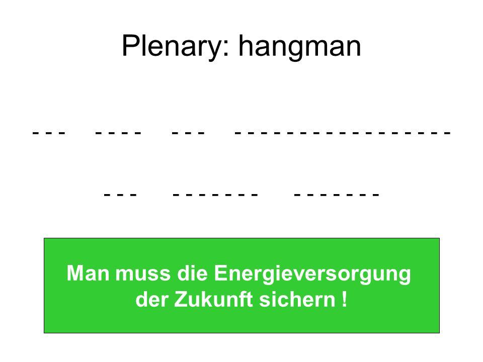 Plenary: hangman - - - - - - - - - - - - - - - - - - - - - - - - - - - - - - - - - - - - - - - - - - - - Man muss die Energieversorgung der Zukunft sichern !