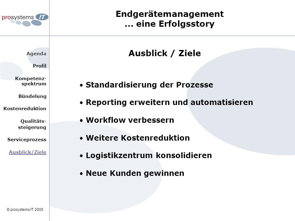 © prosystems IT 2005 Agenda Profil Kompetenz- spektrum Bündelung Kostenreduktion Qualitäts- steigerung Serviceprozess Ausblick/Ziele Endgerätemanagement...