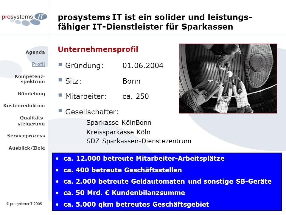 © prosystems IT 2005 prosystems IT ist ein solider und leistungs- fähiger IT-Dienstleister für Sparkassen Unternehmensprofil  Gründung: 01.06.2004  Sitz: Bonn  Mitarbeiter: ca.