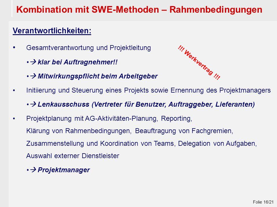 Wintersemester 2009 / 2010 Folie 16/21 Kombination mit SWE-Methoden – Rahmenbedingungen Verantwortlichkeiten: Gesamtverantwortung und Projektleitung  klar bei Auftragnehmer!.