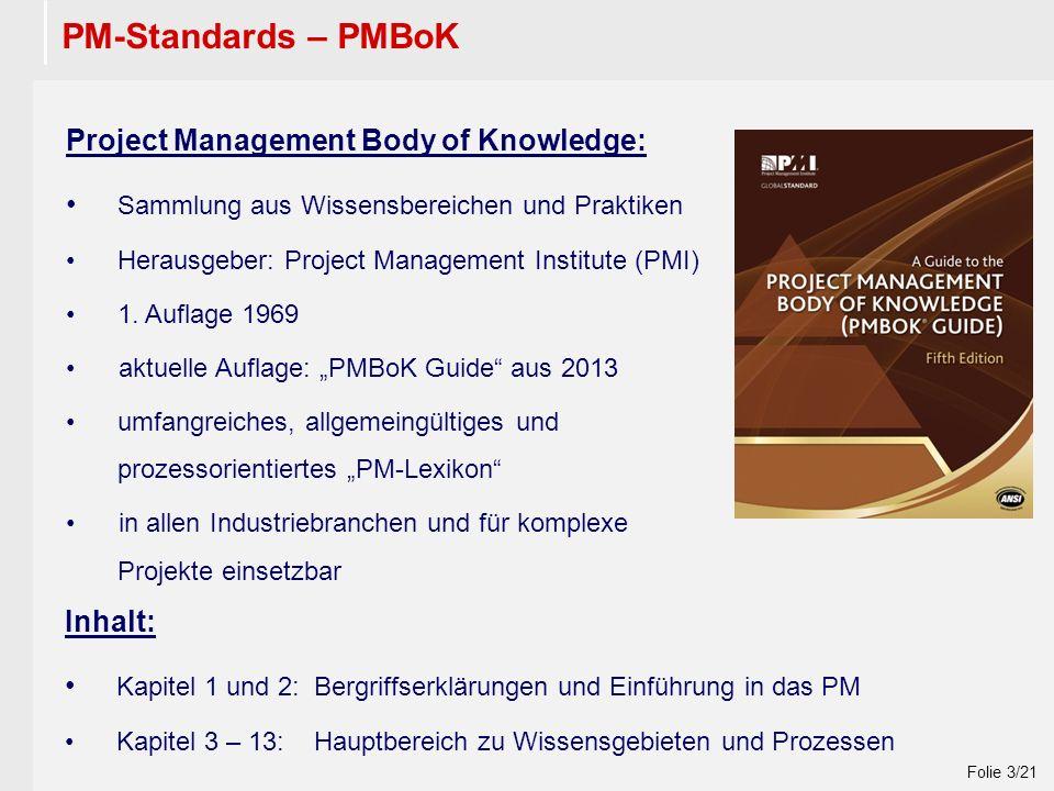 Wintersemester 2009 / 2010 Folie 3/21 PM-Standards – PMBoK Project Management Body of Knowledge: Sammlung aus Wissensbereichen und Praktiken Herausgeber: Project Management Institute (PMI) 1.