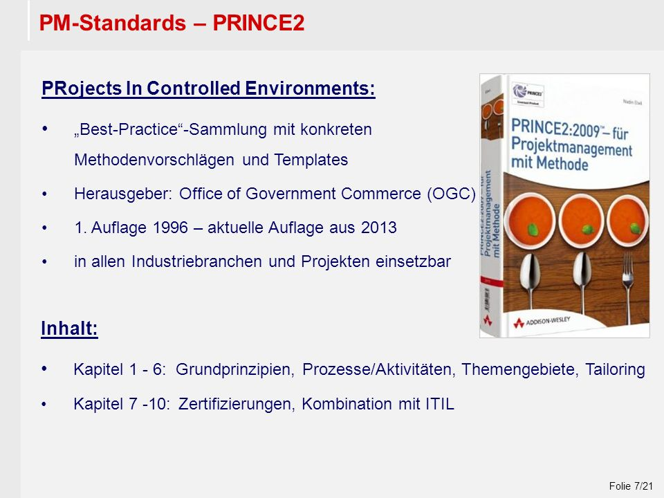 "Wintersemester 2009 / 2010 Folie 7/21 PM-Standards – PRINCE2 PRojects In Controlled Environments: ""Best-Practice -Sammlung mit konkreten Methodenvorschlägen und Templates Herausgeber: Office of Government Commerce (OGC) 1."