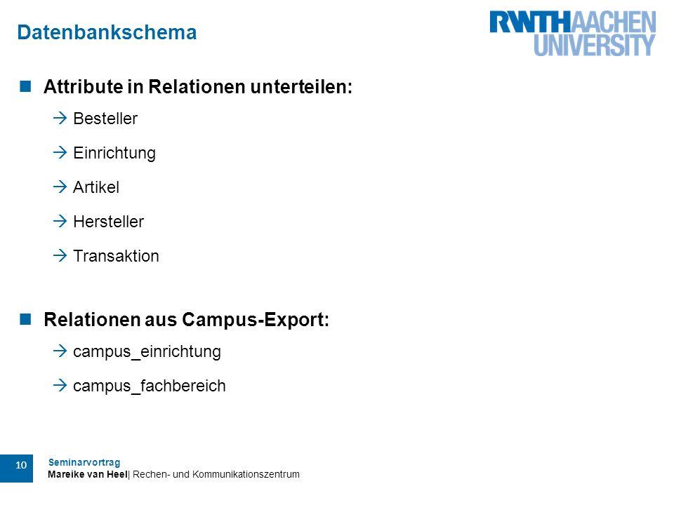 Seminarvortrag Mareike van Heel| Rechen- und Kommunikationszentrum 10 Datenbankschema Attribute in Relationen unterteilen:  Besteller  Einrichtung 