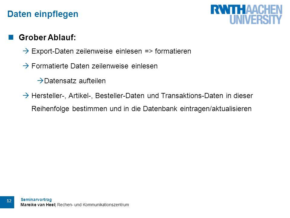 Seminarvortrag Mareike van Heel| Rechen- und Kommunikationszentrum 12 Daten einpflegen Grober Ablauf:  Export-Daten zeilenweise einlesen => formatier