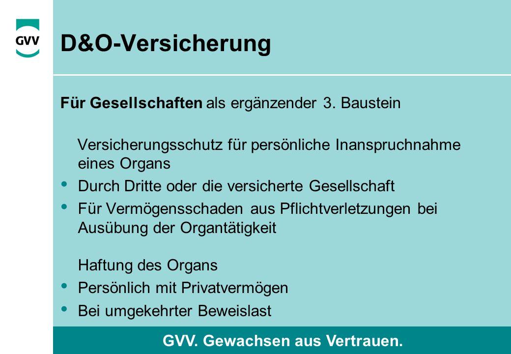 GVV. Gewachsen aus Vertrauen. D&O-Versicherung Für Gesellschaften als ergänzender 3.