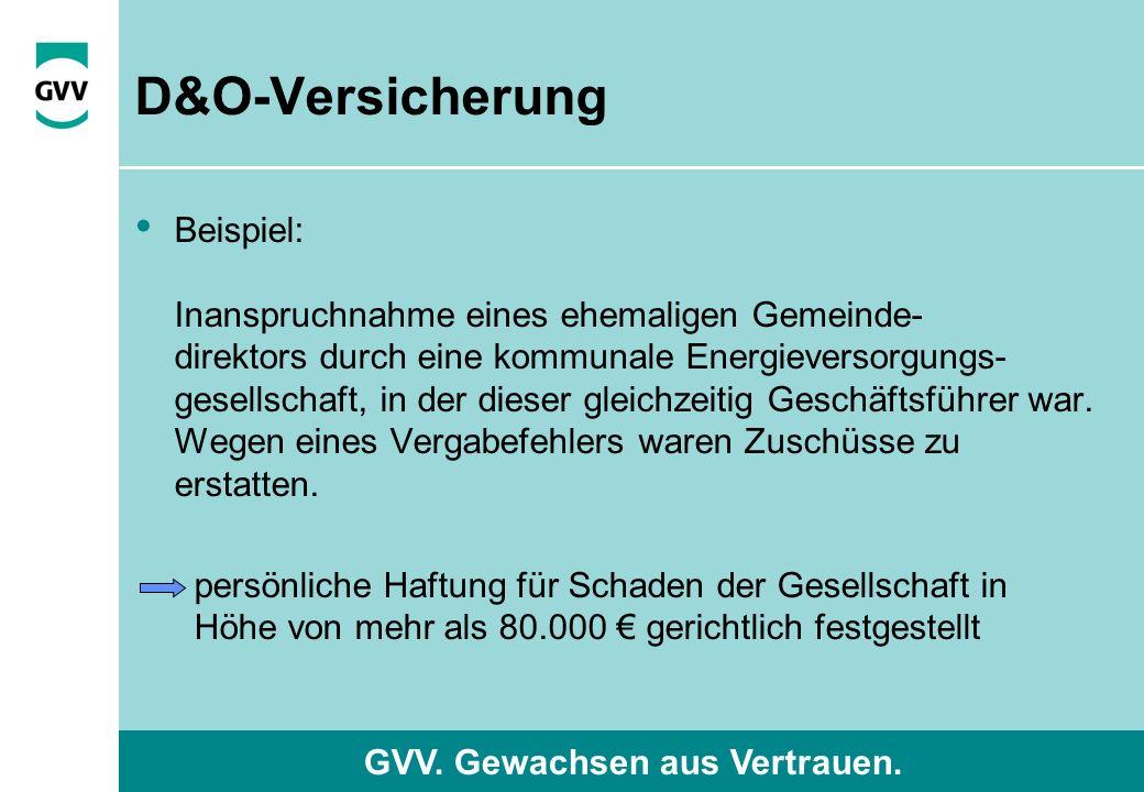 GVV. Gewachsen aus Vertrauen. D&O-Versicherung Beispiel: Inanspruchnahme eines ehemaligen Gemeinde- direktors durch eine kommunale Energieversorgungs-
