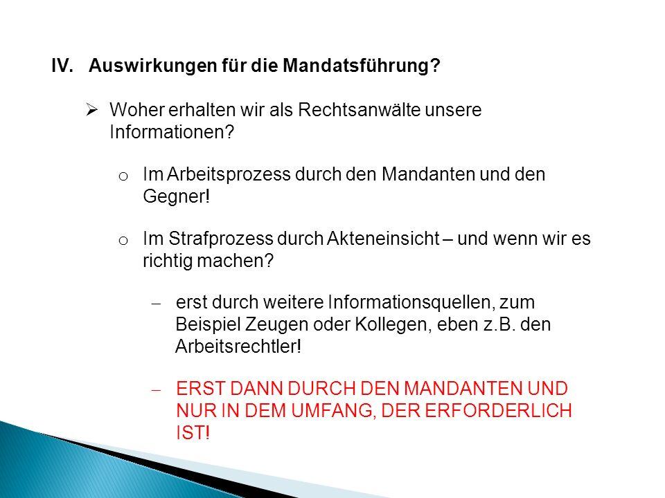 IV.Auswirkungen für die Mandatsführung.