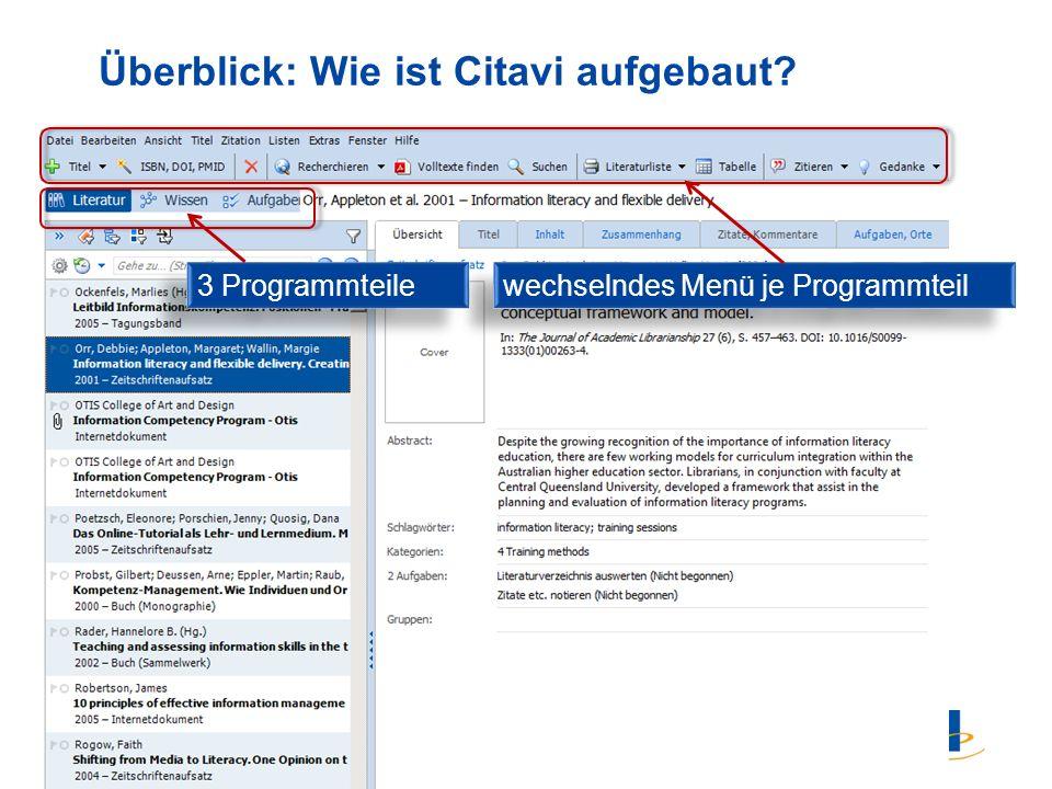 4 Überblick: Wie ist Citavi aufgebaut 3 Programmteile wechselndes Menü je Programmteil