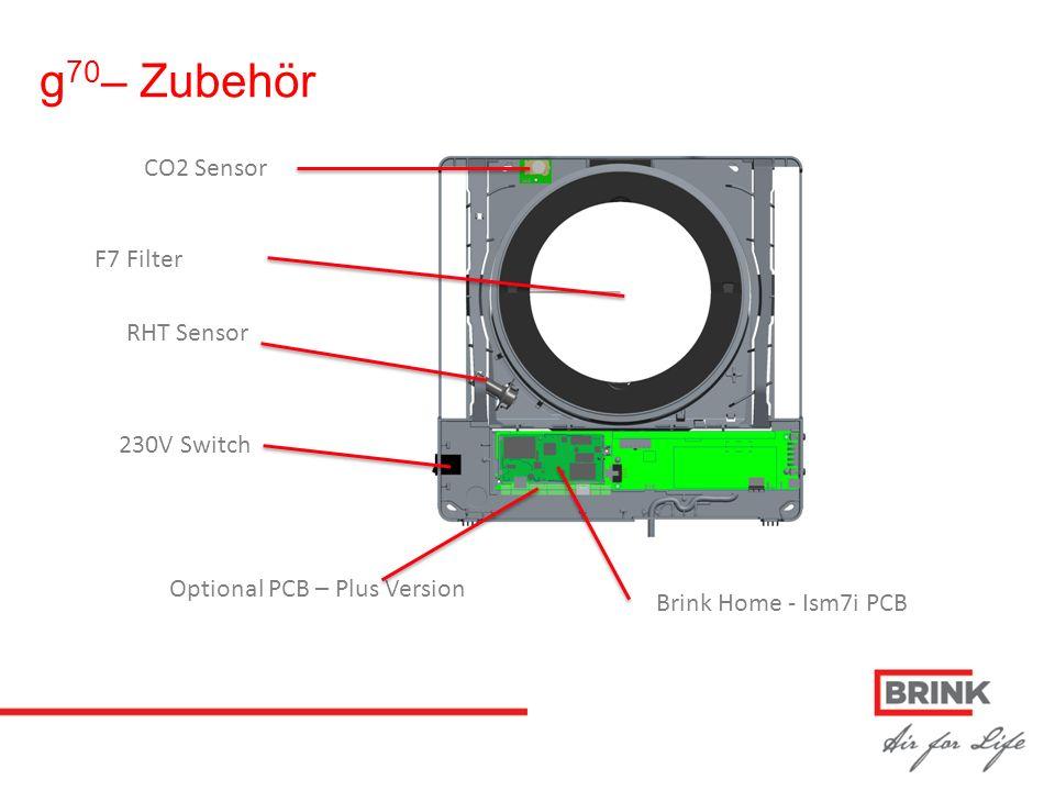 CO2 Sensor 230V Switch Optional PCB – Plus Version Brink Home - Ism7i PCB RHT Sensor F7 Filter g 70 – Zubehör
