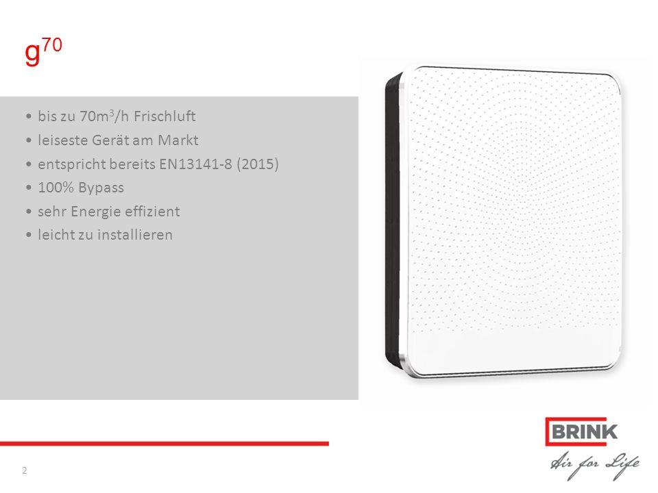g 70 bis zu 70m 3 /h Frischluft leiseste Gerät am Markt entspricht bereits EN13141-8 (2015) 100% Bypass sehr Energie effizient leicht zu installieren 2