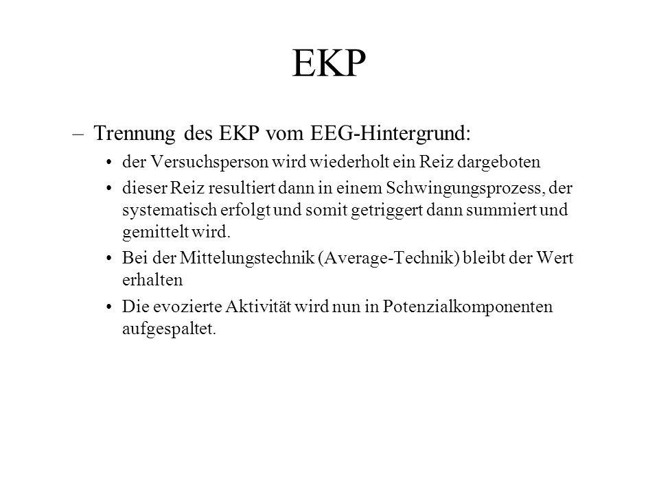 EKP –Trennung des EKP vom EEG-Hintergrund: der Versuchsperson wird wiederholt ein Reiz dargeboten dieser Reiz resultiert dann in einem Schwingungsproz