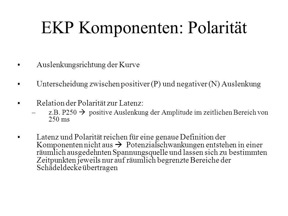 EKP Komponenten: Polarität Auslenkungsrichtung der Kurve Unterscheidung zwischen positiver (P) und negativer (N) Auslenkung Relation der Polarität zur