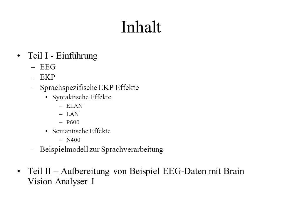 Inhalt Teil I - Einführung –EEG –EKP –Sprachspezifische EKP Effekte Syntaktische Effekte –ELAN –LAN –P600 Semantische Effekte –N400 –Beispielmodell zu