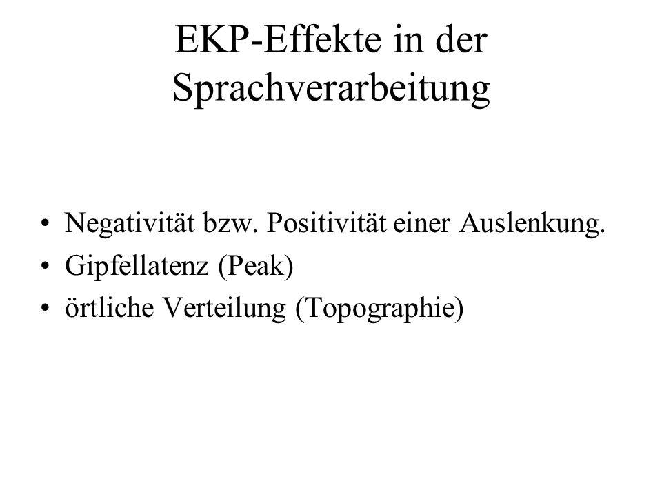 EKP-Effekte in der Sprachverarbeitung Negativität bzw. Positivität einer Auslenkung. Gipfellatenz (Peak) örtliche Verteilung (Topographie)